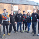 Paddlers and members of support crew at Devizes before starting on Saturday morning