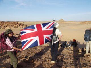 Flying the flag.