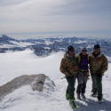 The guiding team of (from L-R) Giovanni Murer, Capt Tania Noakes and Luca Dei Cas on the summit of Monte Adamello (3,539m).