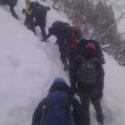 Calday Grange CCF Cadets climbing the lower slope on their way to the frozen waterfall.