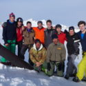 The group by the cannon on Cresta Croce.