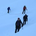 Moving-up to Ishinca between crevasses