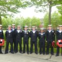 """The full teams from the Units. Ready for parade and wreath laying.   From Left to Right:  AB Jenny Walley, AB Gareth Moody,   AB Derek Flint,  LS Michael """"Mad Dog"""" Maddox.  (In overall lead of the team), AB Glenn Hudson, AB David Tarren,  AB Dee Patel,  LS Chris """"Dinger"""" Bell,  AB Alf Pace."""