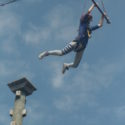Leap of faith - Cadet Hill manages to grab the trapeze.