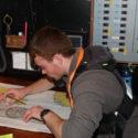 Cdt Sgt Daniel Richardson plotting the course