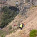 Decending to Aasvoelkrans Cave