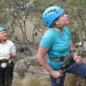 Concentrating on looking after their team-mate during the rock climbing on Fischer's Tower, Hell's Gate National Park
