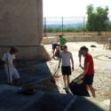 Cleaning memorial at Salamanca