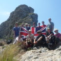 Group and flag on summit