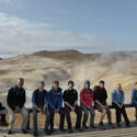 The group in front of a fumarole
