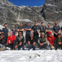 The team at Kyajo Ri base camp with the first headwall in the background