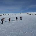 Sking up a steep slope from Kjeldebu