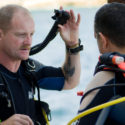 Dave Richards runs through his pre-dive checks with Paul Humphrey before setting off to recconnoitre the wreck of HMS Maori in advance of the night dive.