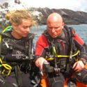 Open Water Instructor Cpl Chris Woolerton carries oout a BAR check with Lt Kelsey Chatburn