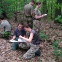 SNCO's reconnoitre the navigational exercise area, with the Canadian experts pointing out the indigenous and to be avoided poison ivy, in the Ganaraska forest.