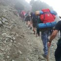 Trekking up narrow rocky paths a daily plod