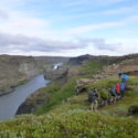 Walking towards Dettifoss, about the Jökulsárgljúfur canyon, also on the 5th day of walking.