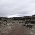 Crossing a lava field on the Reykjanes peninsular.