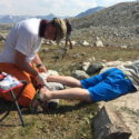 WO2 Ray Peace practicing Mountain Medic skills