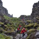 Group walk in the gorge between the North American and Eurasian tectonic plates