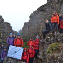 Group photo in the gorge between North American and Eurasian tectonic plates