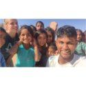 Girish Saravanan with school kids