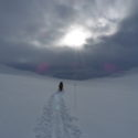 Skiing off into the wastes of the Hardangervidda