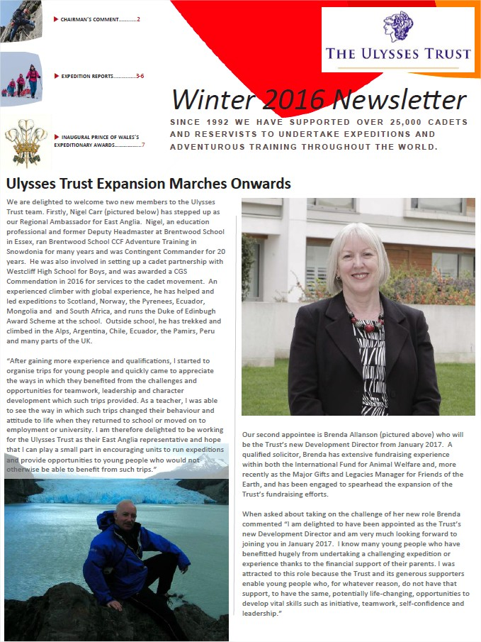 Ulysses Trust Winter 2016 Newsletter