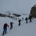 The whole group making the ascent to the Chickewa Valley Col