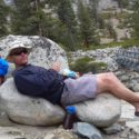 Ex Leader Maj Busby taking a well-deserved lunch break in Piute Trail Canyon