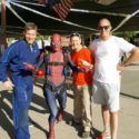 SSgt Rob Smiejkowski, LCpl Dino Honychurch and Sig Nick Marshall in a rare photo opportunity with your friendly neighbourhood Spiderman