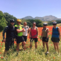 Staff Sergeant Tony Moretti, Sergeant Stu Cameron, Warrant Officer 1 Colin Inches, Corporal Sharon Black, Private Stacey Martin and Lance Corporal Diane Clark amongst the high Poppy meadows on route to El Burgo.