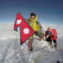 LCpl Umesh Gurung standing on top of the world