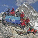The team at the summit of Kala Pahtar, the highest point reached on the expedition