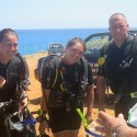 Novice divers Sgt Jodie Mills, Pte Romany Sturdy and LCpl Ian 'Jez' Jessermino receive a comprehensive dive brief ahead of the qualifying dive on Ex Neptune Serpent 17