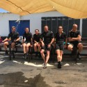 The novice divers (R - L) Cpl iam Rawsthorne, LCpls Rebecca Church, Ian Jessermino, Pte Romany Sturdy, Sgt Jodie Mills and a random diver? At Kembali divers during Ex NEPTUNE SERPENT 17