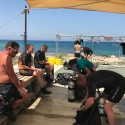 Open Water students Pte Romany Sturdy and LCpl Ian Jessermino assemble their dive kit under, watched by senior instructor Chris Sergeant of Kembali divers during Ex NEPTUNE SERPENT 17