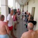 Daily 'end of diving' group critique and lessons learnt back at the transit accommodation block, Episkopi Garrison, during Ex NEPTUNE SERPENT 17