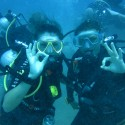 Newly qualified divers Pte Romany Sturdy and LCpl Becky Church signal 'OK' Ex NEPTUNE SERPENT 17