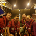 A happy white watch after successfully rafting on to the boat to the left of them for the first time!