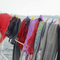 Life at sea – hand washing items of clothing in the sink