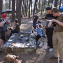 Om nom nom nom – cooking rations in the evening sunlight at Camp Two