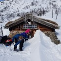 Digging out the hut