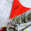 Storm-sails raised again as a Force 6 gale  batters Adventure.