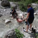 Refreshing dip in a mountain stream - it as cold and there weren't many takers.