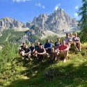 The groups outside Rifugio Giaf.  About to embark on Day 2.  See the mountains behind, that's where we were heading.